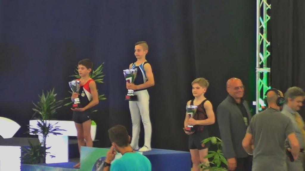 Il podio del Campionato Nazionale Gold Allievi 2018 2ª fascia: MAZZOLA PIETROA.S.D. PRO LISSONE GINNASTICADISO GABRIELEA.S.D. DELFINO